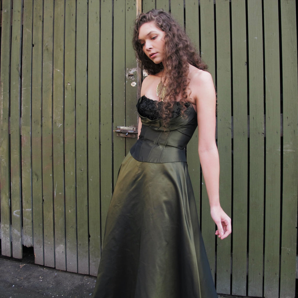 Vintage 90s Prom Dress Shiny Forest Green Evening Gown Black Beaded Shelf Bustier Party Dress Fairy Formal Strapless Evening Dress XS/S