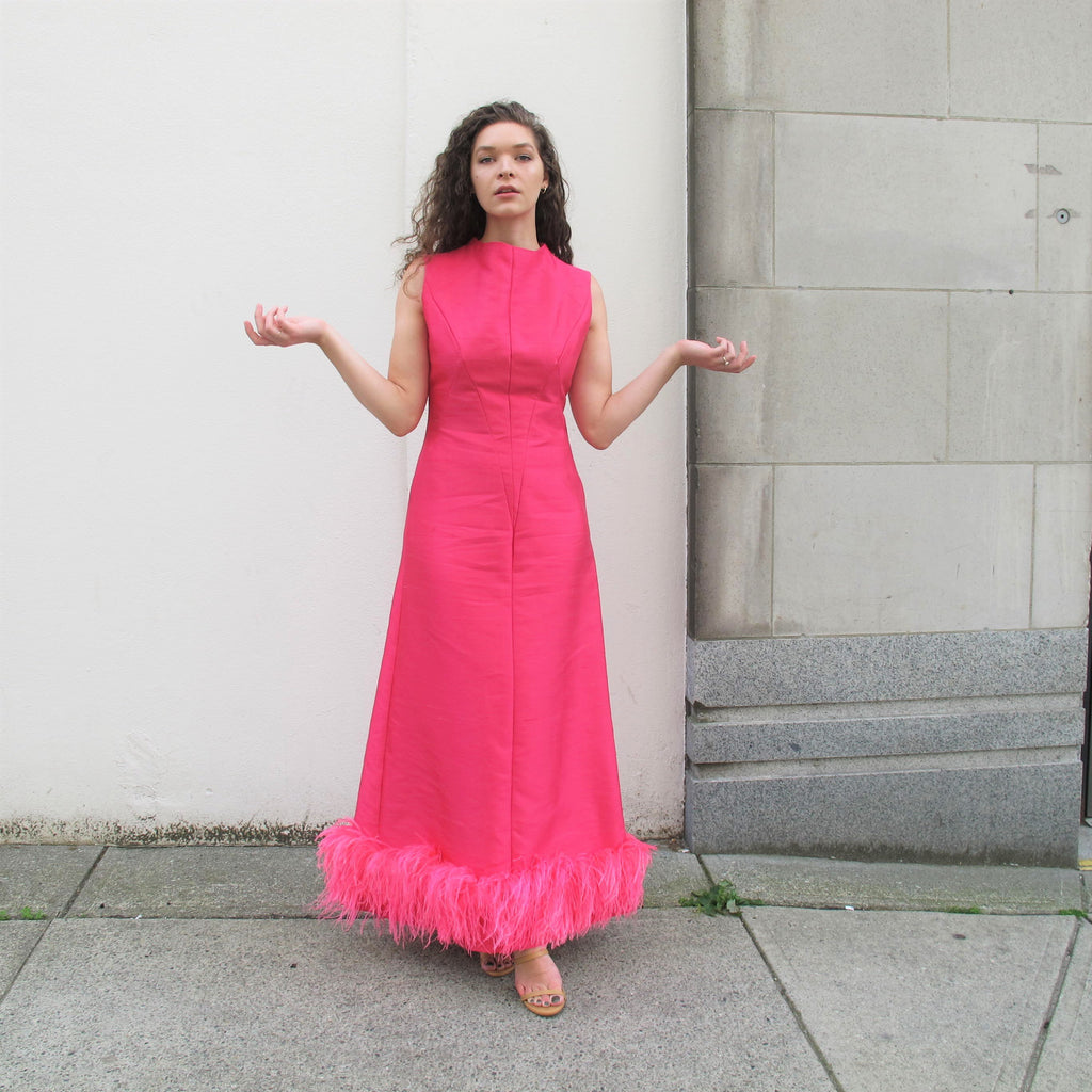 Vintage 1960s Pink Feather Dress Marabou Feather Dress Space Age Fuschia Pink Raw Dupioni Silk Dress Sleeveless Maxi Feather Evening Gown M
