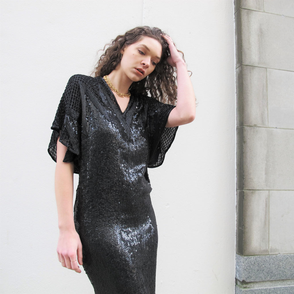 Vintage HALSTON III Dress Beaded Black Silk Sequin Dress Embellished Sequined Dress V Neck Midi Disco Cocktail Evening Sequin Party Dress S