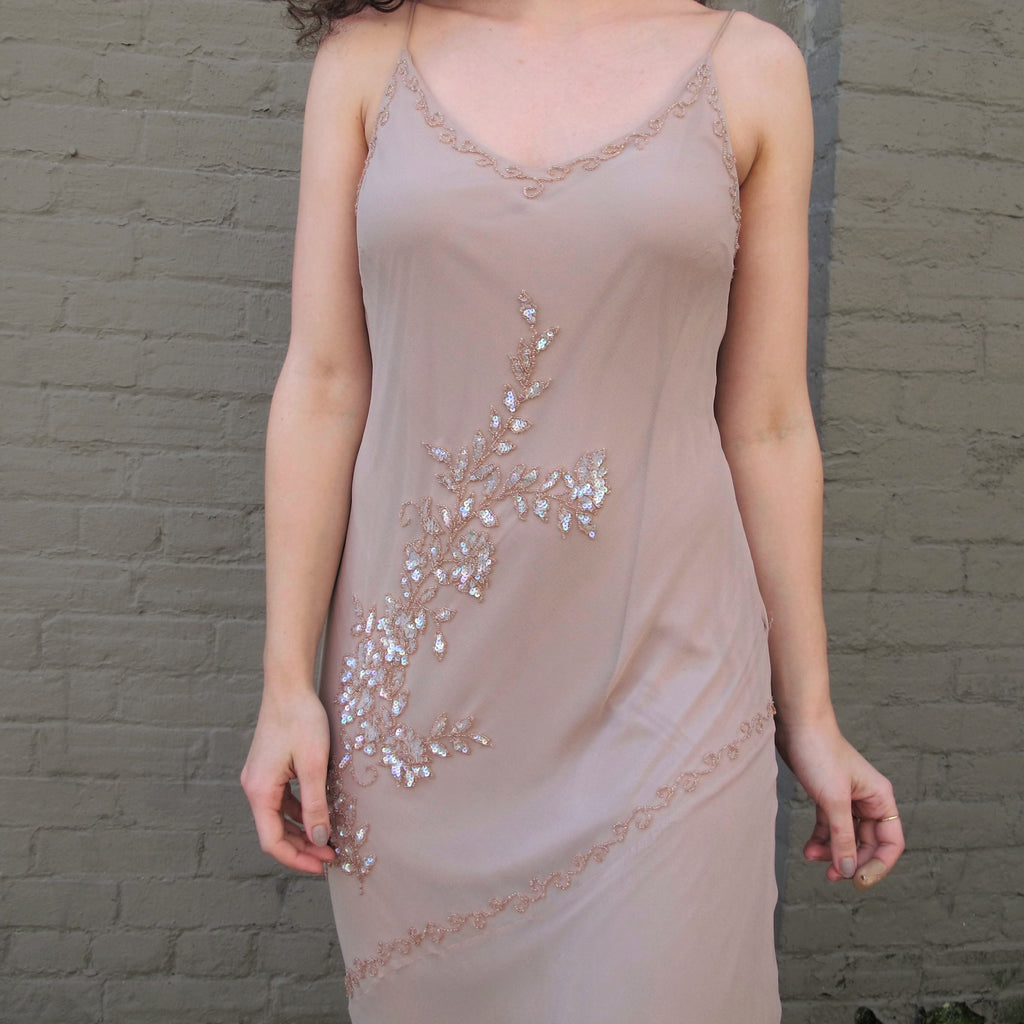 Vintage 90s Blush Pink Sequin Dress Slip Sequined Floral Beaded 1920s Style Flapper Dress Party Evening Gown Lace Up Open Corset Back XS/S/M