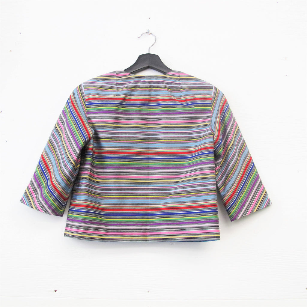 Vintage 1960s RAINBOW Striped Jacket 60s Short Jacket Striped Blazer Evening Jacket 3/4 Length Sleeves Double Breasted Buttons XS