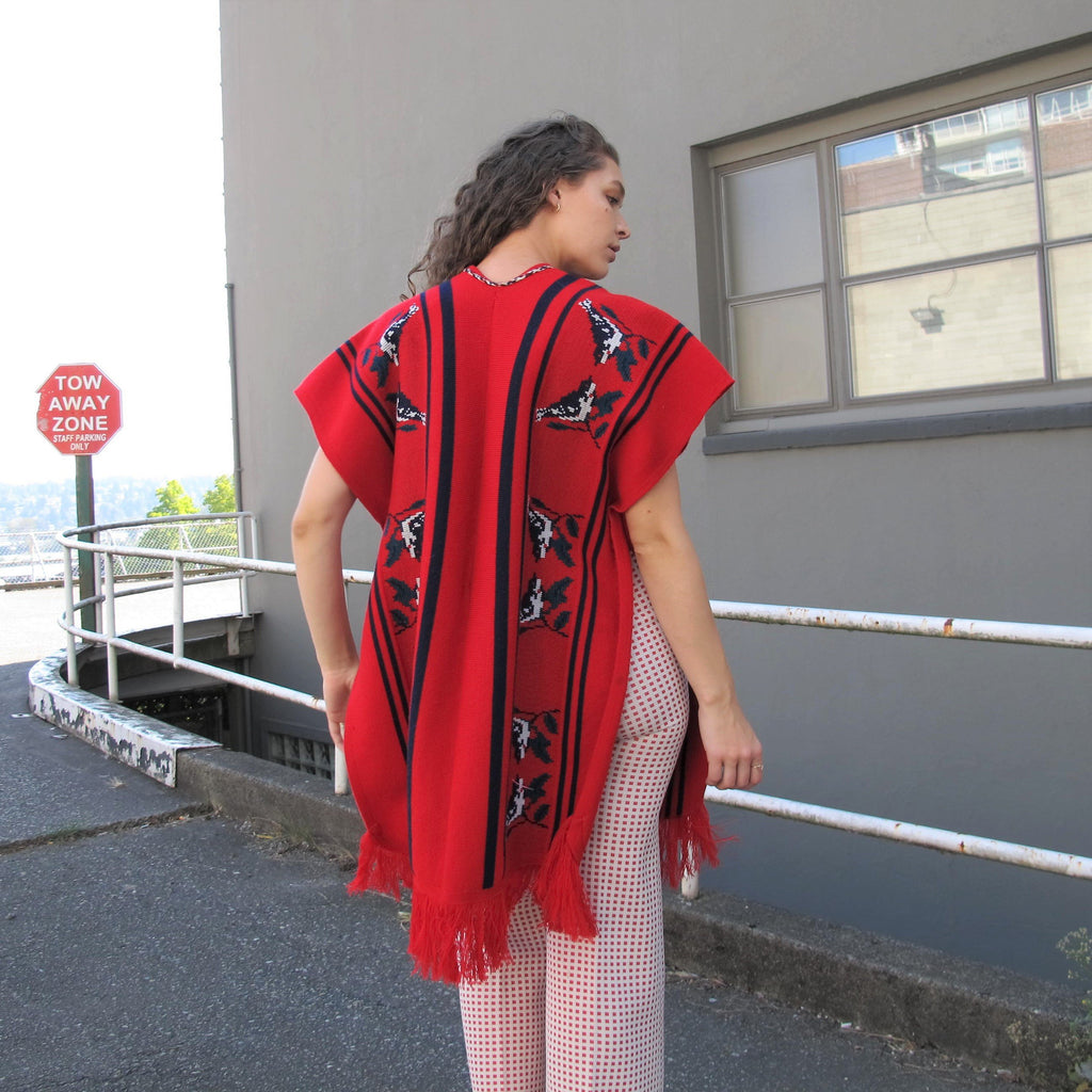Vintage 70s Sweater Vest Knitted Duster Vest Novelty Knit Red Poncho BIRDS Long Sweater Vest Southwest Boho Sleeveless Layering Fringe L/XL