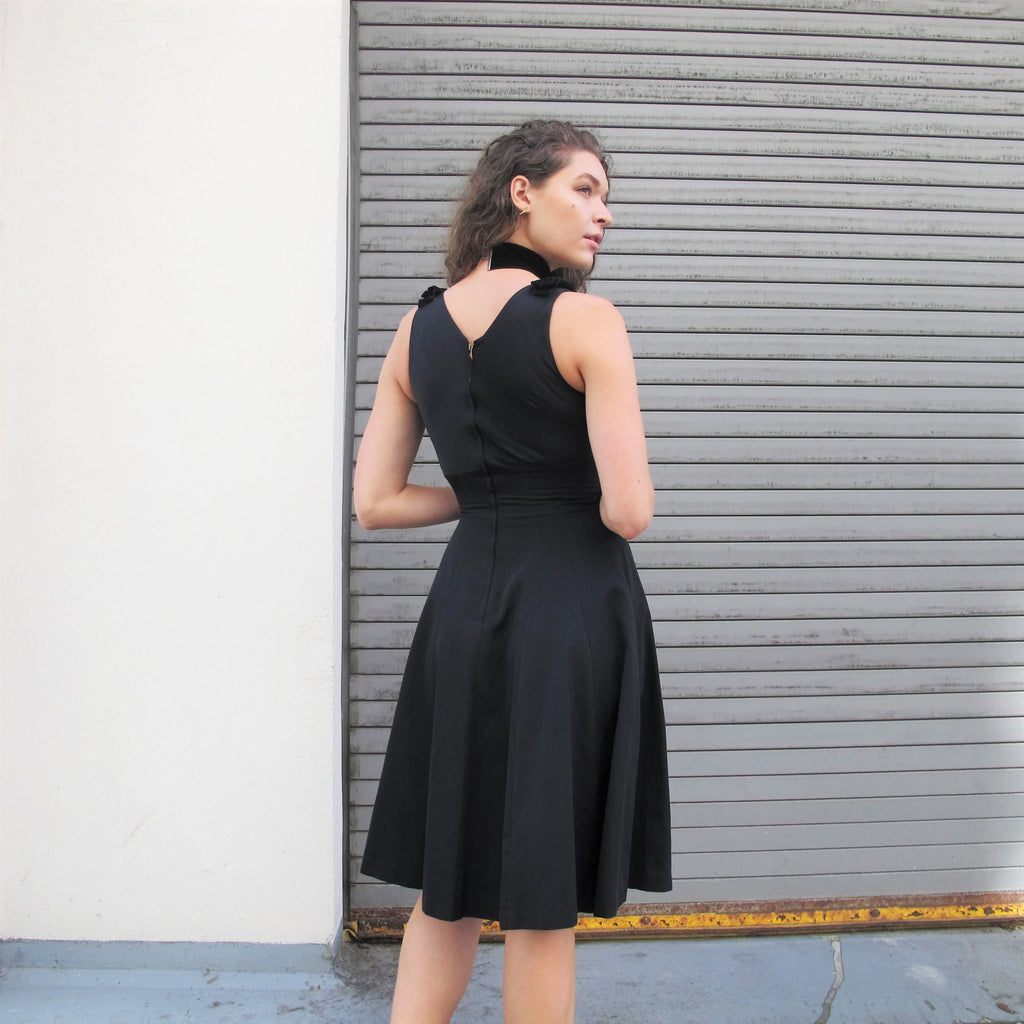 Vintage Black Velvet Bows Dress Black Velvet Cocktail Party Dress 1990s does 1950s Dress Flared Formal Classic Knee Length Nougat London XS