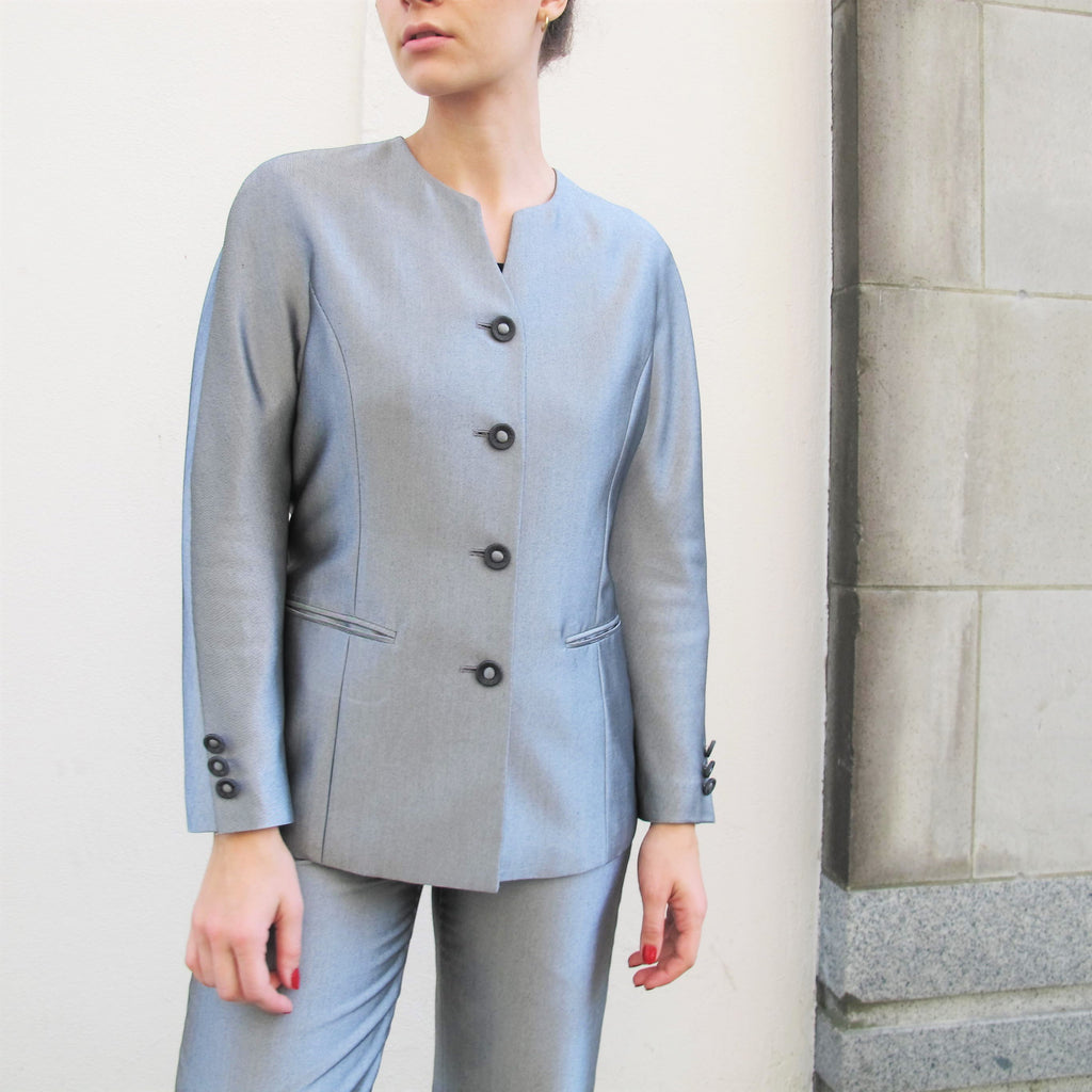 1990s Silver Suit Womens Pantsuit Blazer Jacket & High Waist Dress Pants Two Piece Suit David Bowie Rhinestone Gray Tailored Fitted S/M