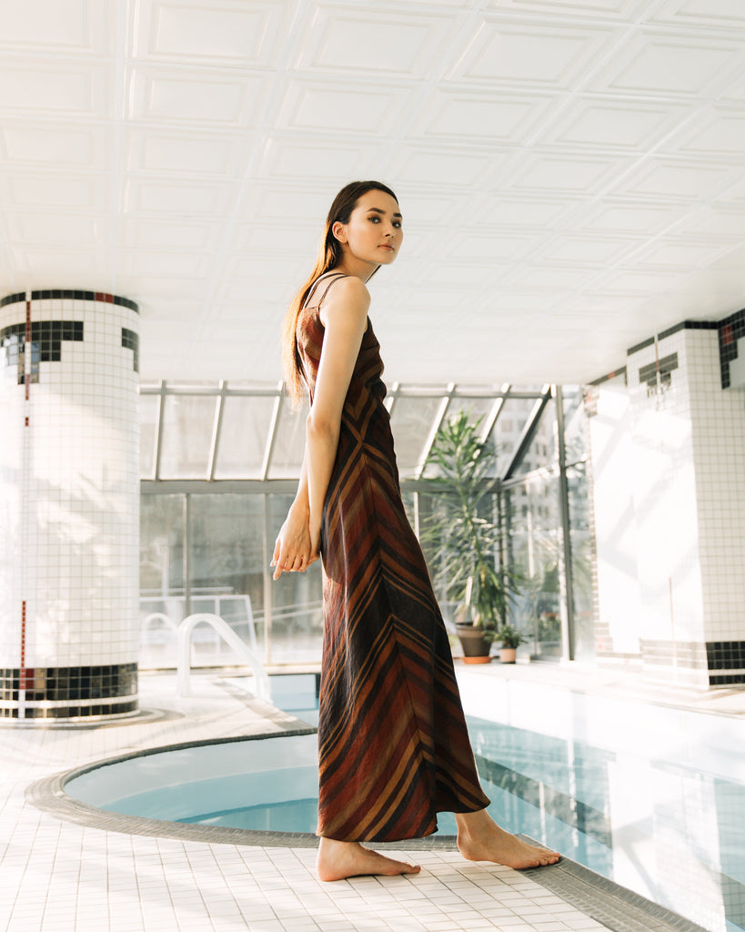 90s Striped Maxi Dress Minimalist Modern Geometric Brown Chevron Striped Dress Double Shoulder Straps Fitted Fall Autumn Colors Bias Cut (S)