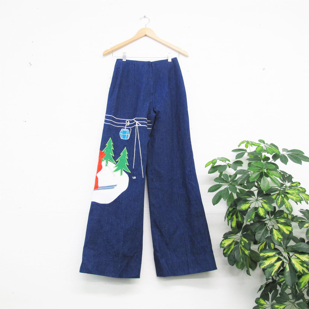Vintage 70s Wide Leg Jeans Novelty SKI RESORT 1970s Embroidered Jeans Dark Wash Denim Palazzo Pants Womens High Waist Jeans La Jolla 25 XS