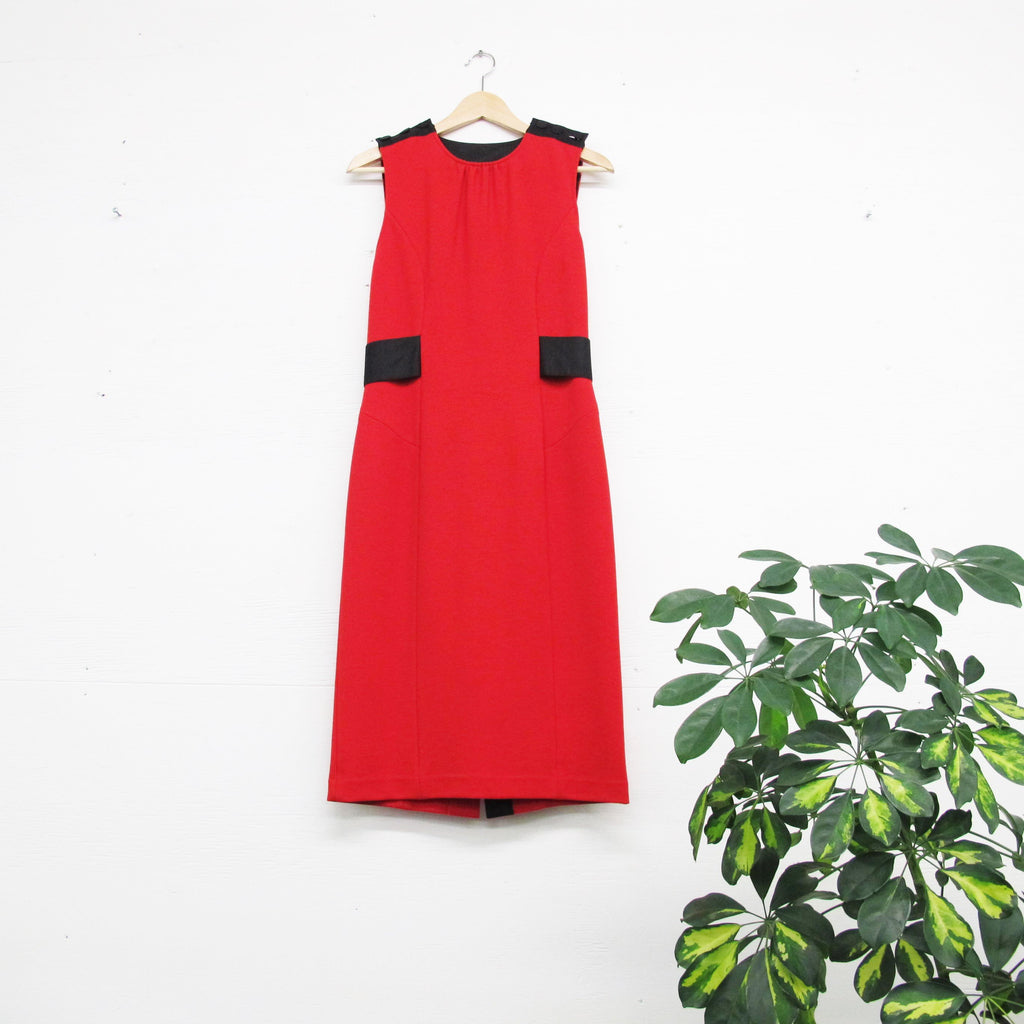 Vintage Diane Von Furstenberg Dress Black and Red Dress 90s Shift Dress Sleeveless Knee Length Ribbon Belt Modern Designer Dress Size M