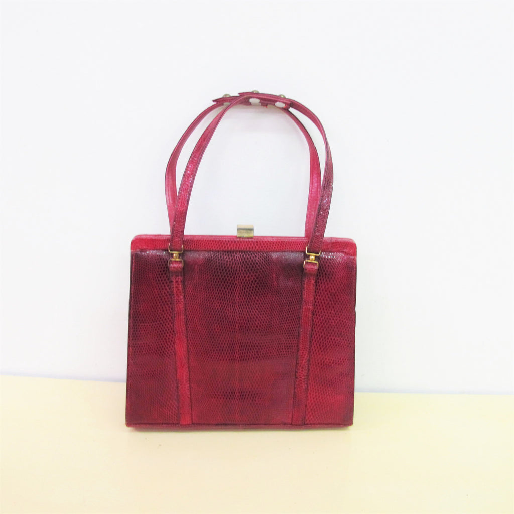 Vintage 1950s MARQUESSA Purse Small 1950s Lizard Skin Handbag 50s Reptile Bag Purse Red Leather Bag Straps Kisslock Handbag