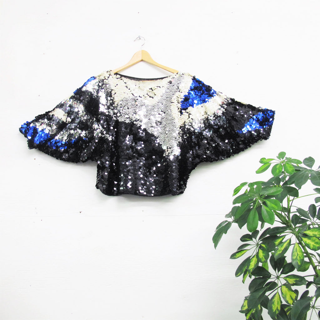 Vintage Sequin Blouse Blue Silver White Black Sequins Multi Color Sequined Batwing Top 70s 80s Disco Large Disc Sequins Slouchy Party M
