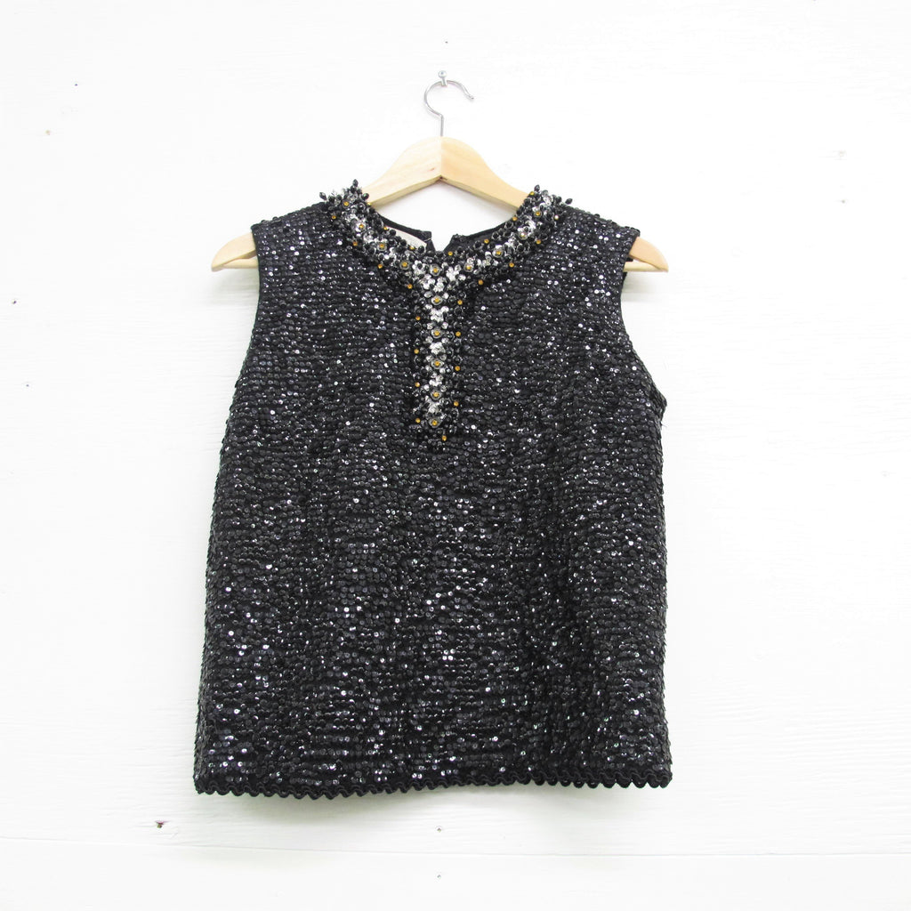 Vintage 1960s Sequin Tank Black Beaded Shell Top 3D Floral Op Art Handiwork Sequined Knit Blouse Fancy Formal Evening Gold Silver M/L