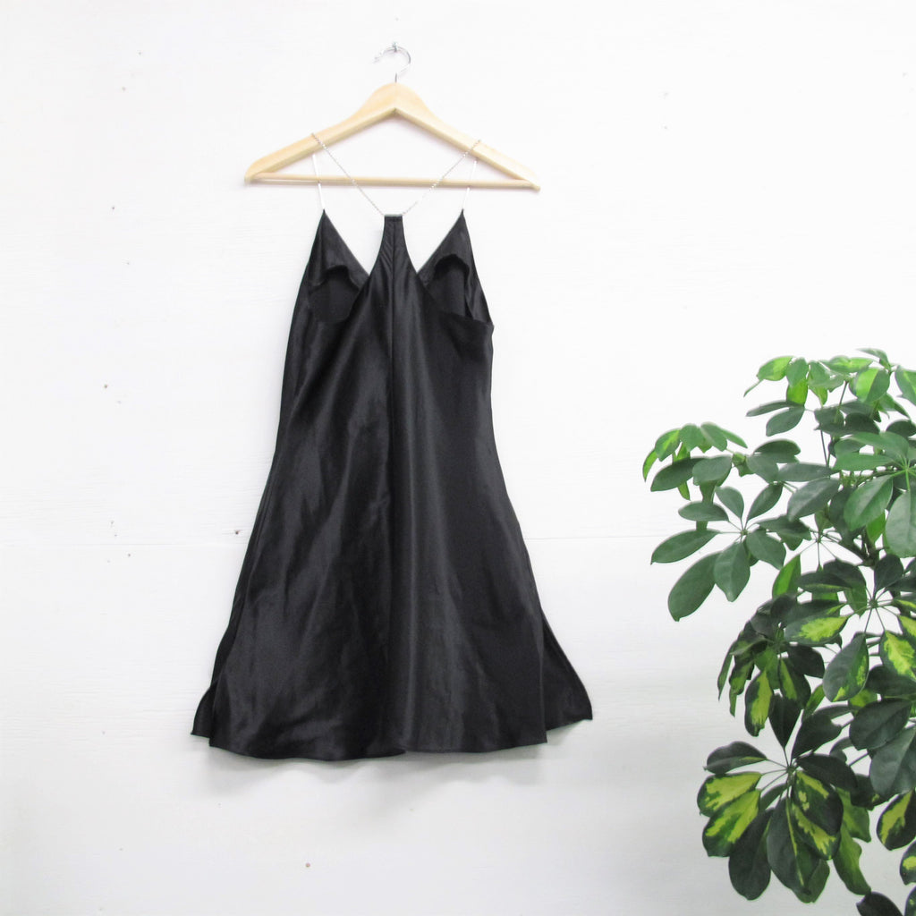 Vintage Black Satin Slip Dress 90s Slip Dress Rhinestone Straps Little Black Party Dress Sexy Satin Slip Strappy Black Mini Dress Racerback