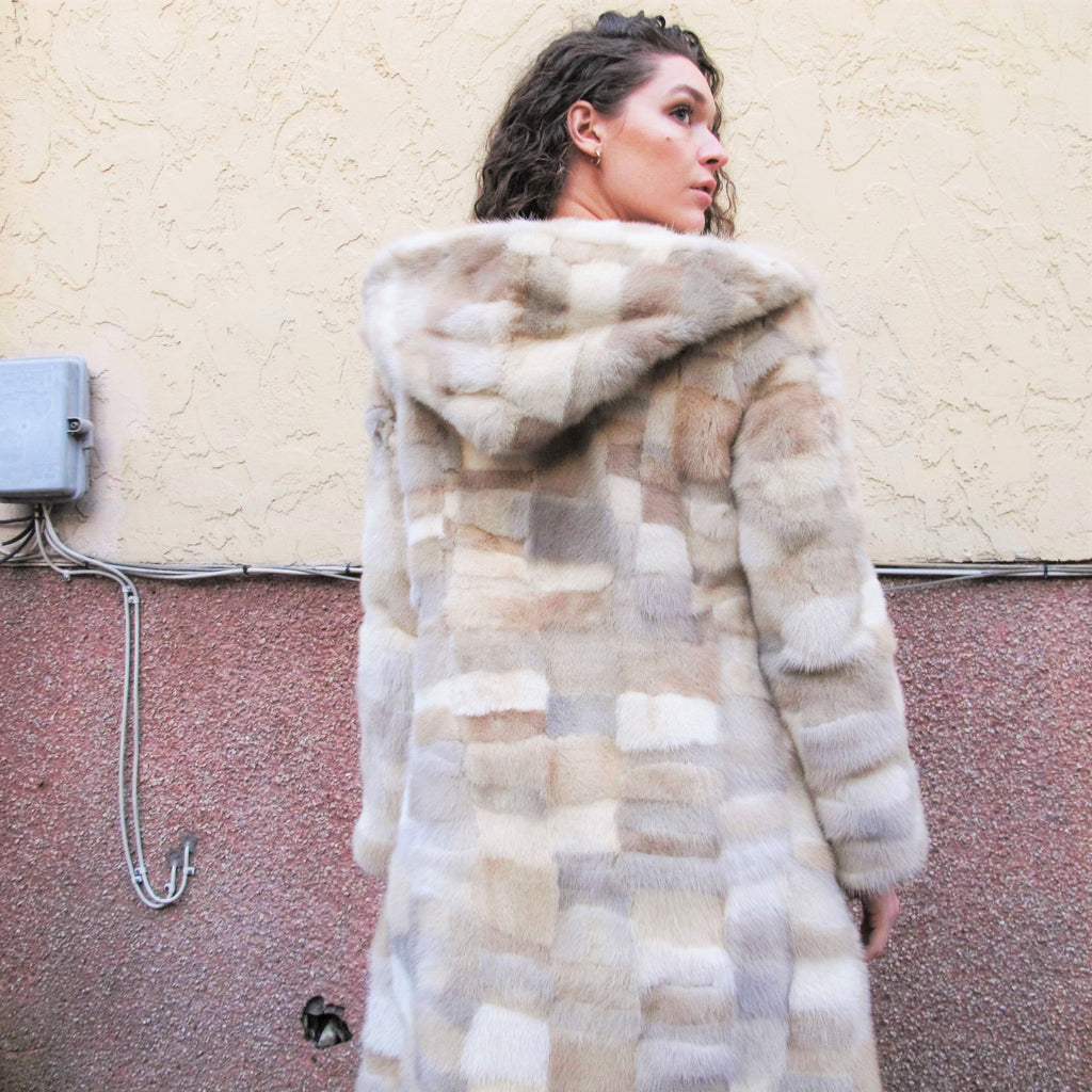 Vintage 1960s Patchwork Fur Coat Hooded Fur Coat Fox Vintage Mink Coat Leather Belt Womens Winter Cream Fur Coat Beige Ivory Princess Coat M