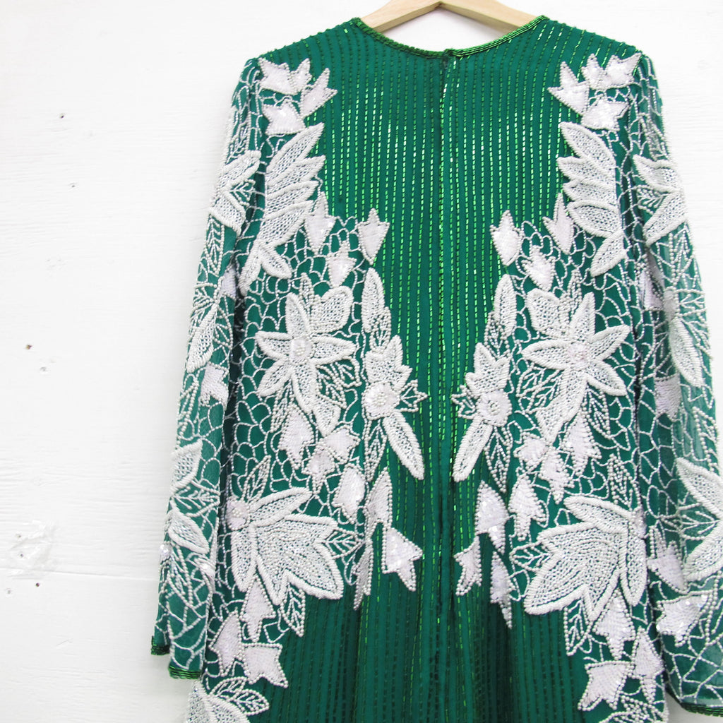 Vintage 80s Green Sequin Dress 1980s Trophy Silk Sequin Party Dress Glam Art Deco White NYE Christmas Party Dress Long Sleeve Midi Length S