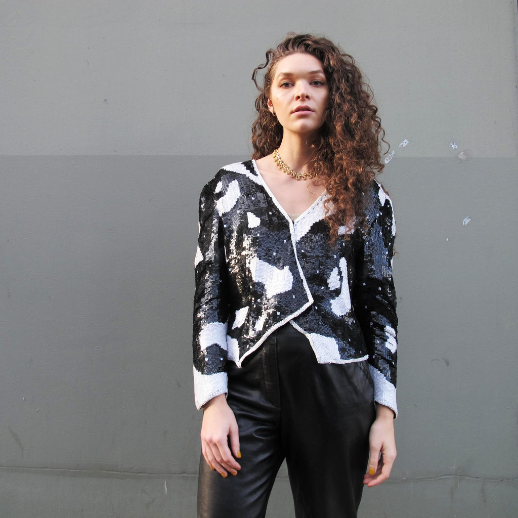 Vintage 1980s Sequin Jacket Cow Print Black & White Jacket Black Sequin Cardigan Fancy Party Silk Sequined Trophy Jacket Asymmetrical