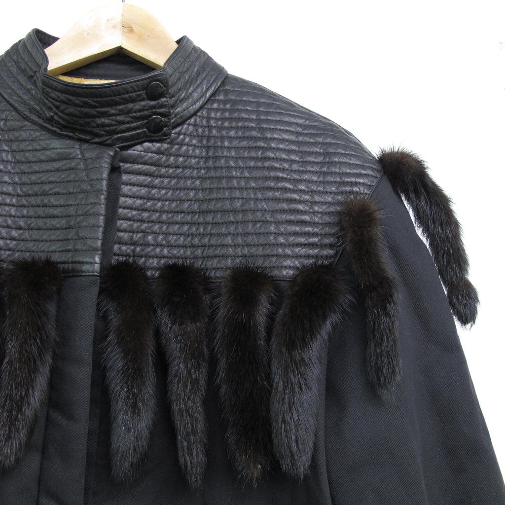 Vintage 80s Christian Ilnares Jacket Real Fur Mink Tails Coat Black Leather Bomber Jacket Unisex New Wave Goth Avant Garde Canvas Jacket M/L