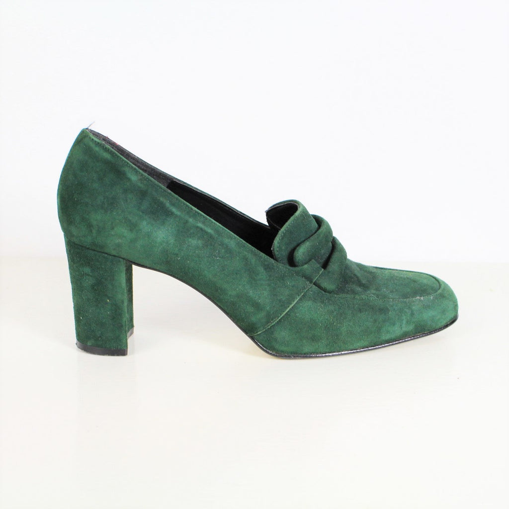 Vintage 80s 90s Green Pumps Green Suede Pumps Dark Green Leather High Heels Retro Mod Secretary Style Chunky Heel Loafer Pumps Size 6.5