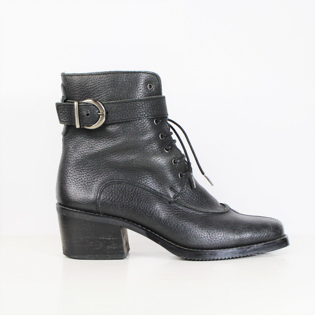 Vintage 1990s Ankle Strap Boots Black Ankle Boots Lace Up Boots Black Pebbled Leather Boots Grunge Platform Chunky Heel Boots Womens Size 8