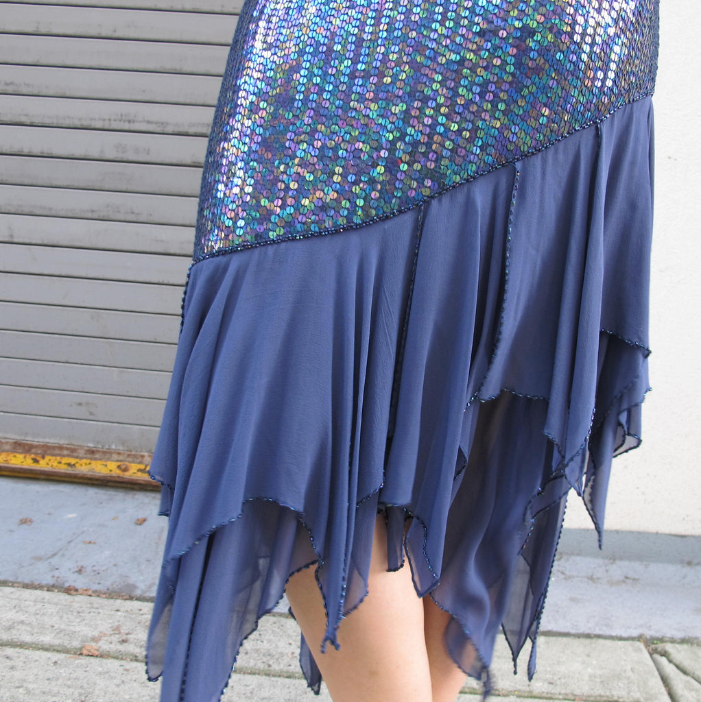 Vintage 1980s Sequin Flapper Dress Mermaid Blue Sequin Party Dress 1920s Style Beaded Silk Chiffon Handkerchief Hem Long Sleeve  M