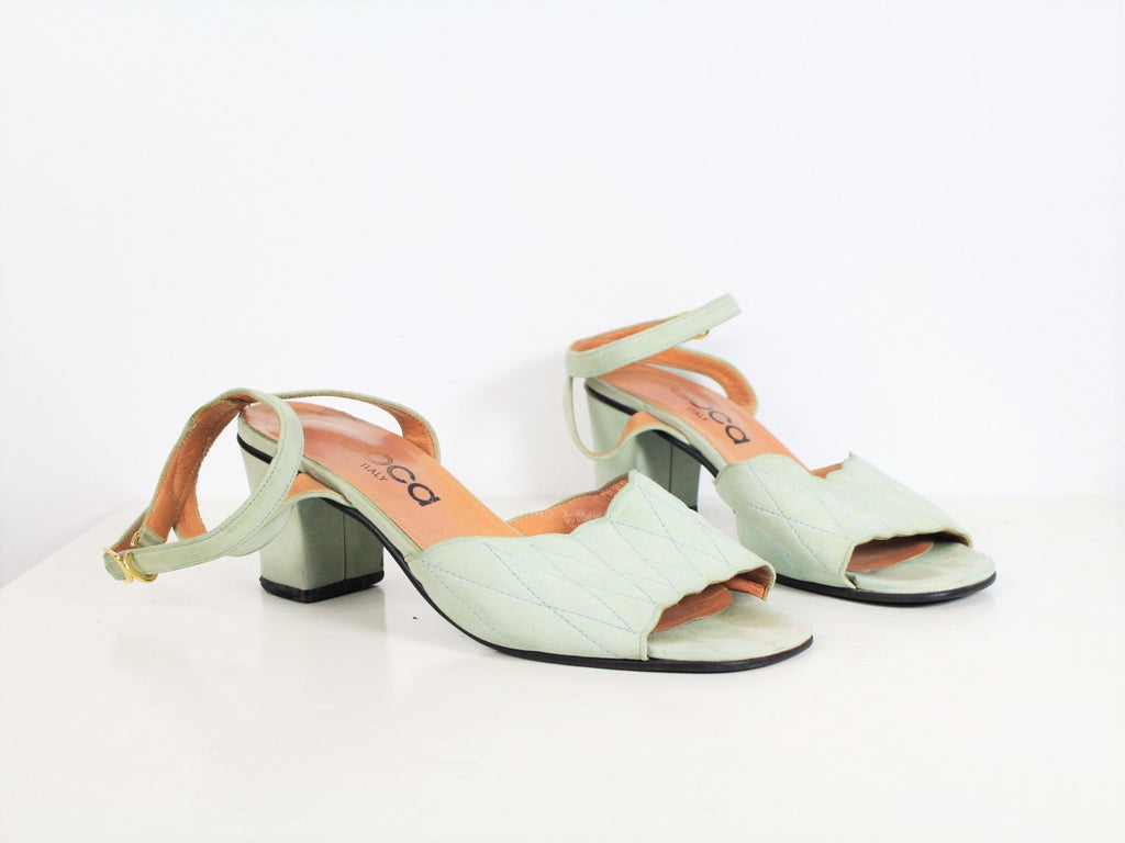 Vintage 90s Ankle Strap Sandals Light Pastel Mint Green Sandals Minimalist Suede Leather Ankle Strap Heels Scalloped Italian Size 6