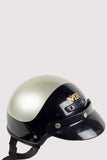 Vintage Half Shell Motorcycle Helmet - Black and Silver
