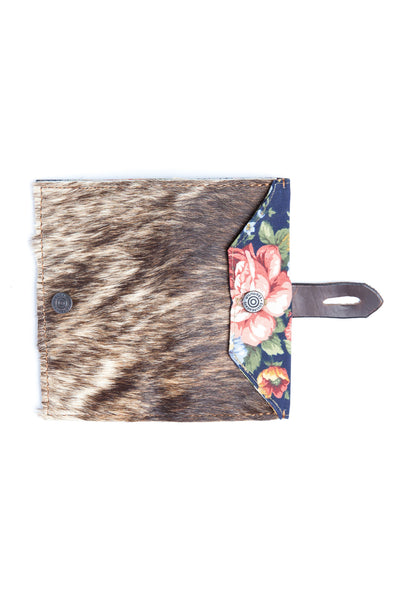 Women's Wallet - Cowhide Blue Floral