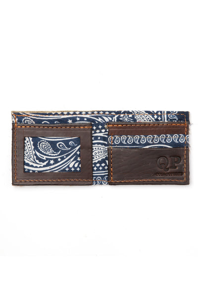 Men's Wallet - Cowhide Blue Bandanna