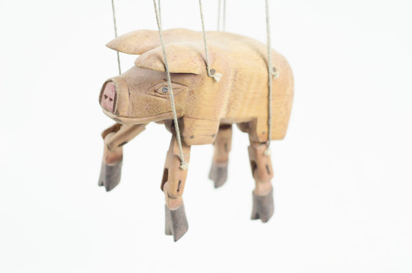 Hand Carved German Pig Puppet