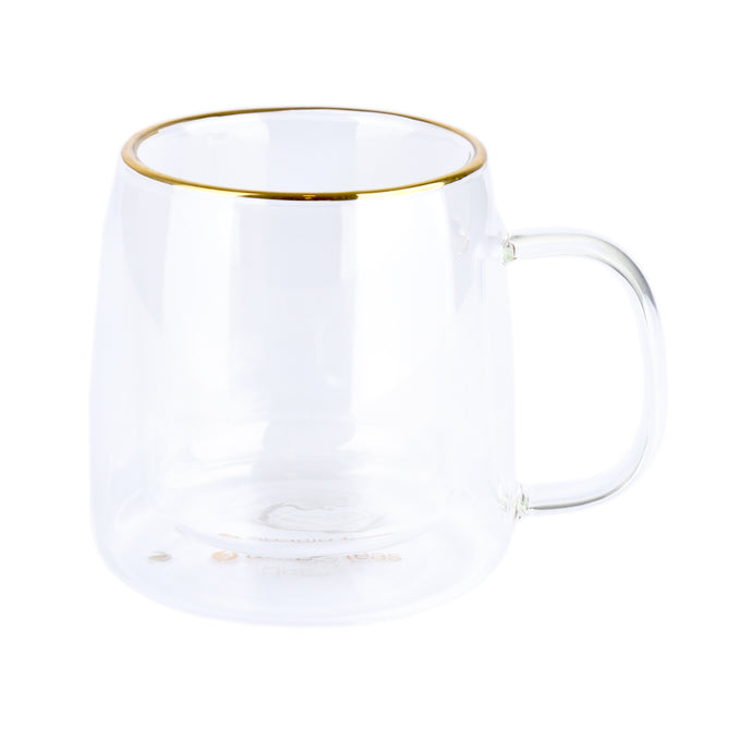 Taza Doble Vidrio Borde Dorado