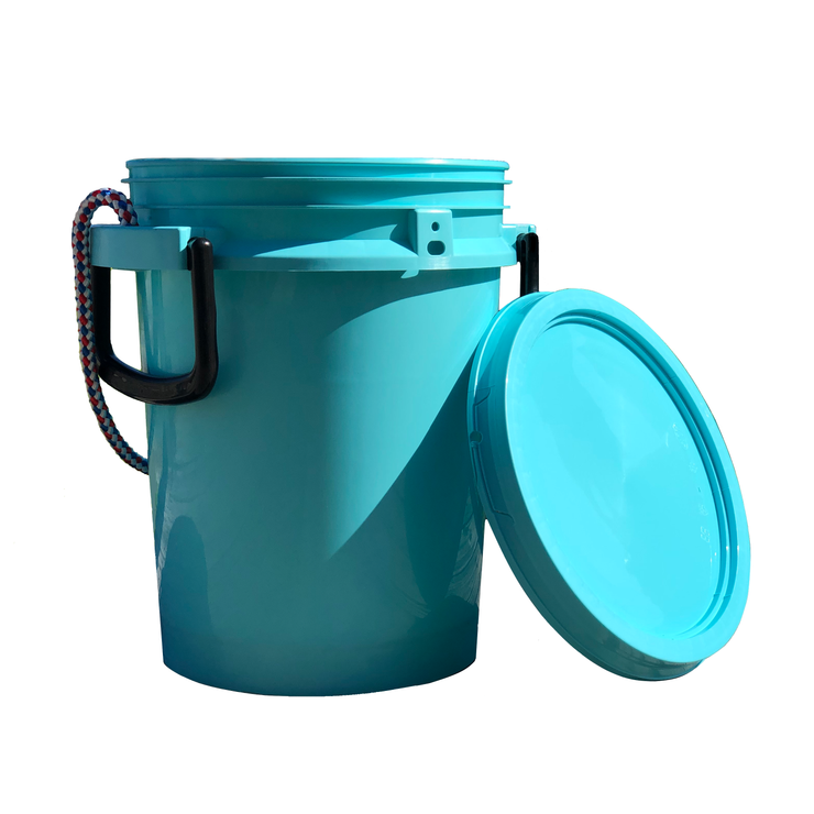 iSmart Bucket - 5 Gallon Rope Handle Bucket with Lid, Aqua Blue