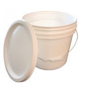 Bucket - 3.5 Gallon Outdoor Metal Handle Bucket with Lid, White Color