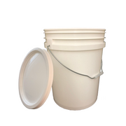 Bucket - 5 Gallon Outdoor Metal Handle Bucket with Lid,  White Color