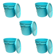 Bucket - 3.5 Gallon Outdoor Metal Handle Bucket  with Lid, Aqua Blue Color
