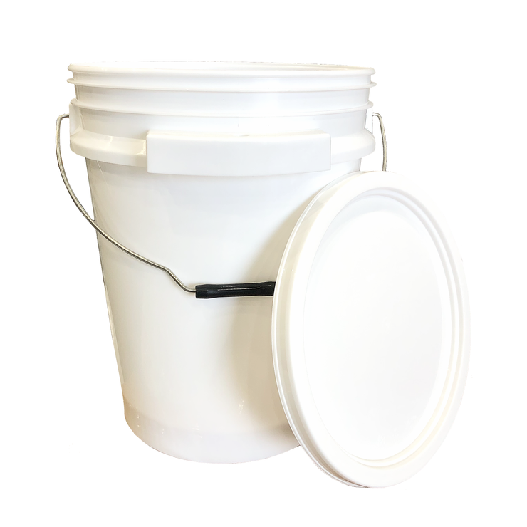 iSmart Bucket - 5 Gallon Metal Handle Bucket with Lid, White Color