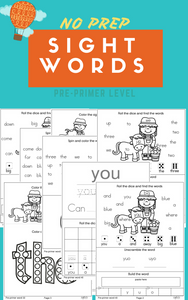 No Prep Sight Words (Pre-Primer)