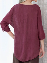 Load image into Gallery viewer, Summer Tops 3/4 Batwing Sleeves Round Neck Solid Blouses