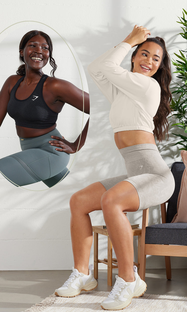 Models wearing outfits that are combined with the Gymshark x Whitney Simmons Collection.