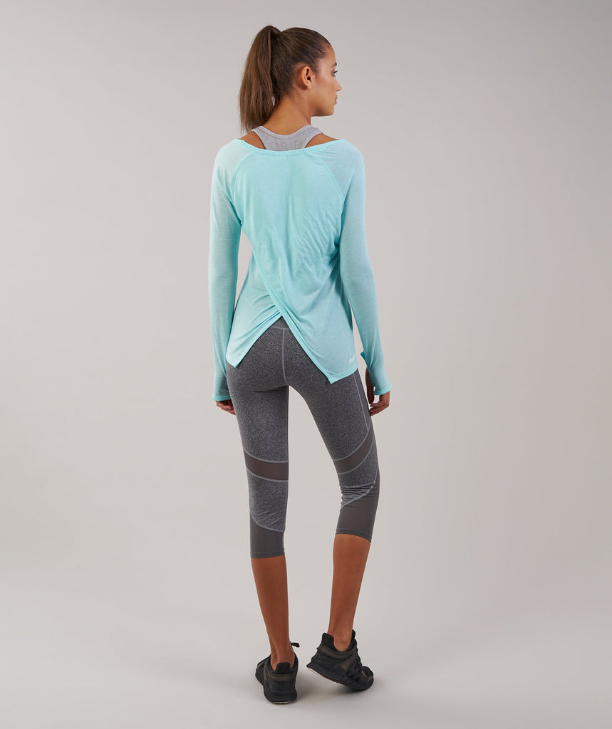 Gymshark Cross Back Long Sleeve Top - Pale Turquoise Marl 2