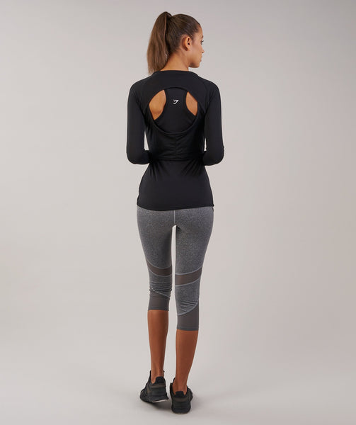 Gymshark Double Up Long Sleeve Top - Black 1