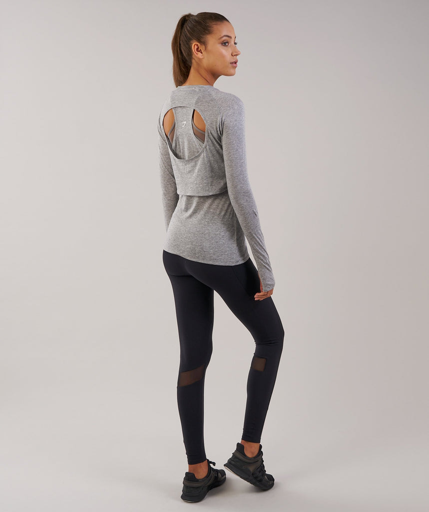 Gymshark Double Up Long Sleeve Top - Light Grey Marl 2