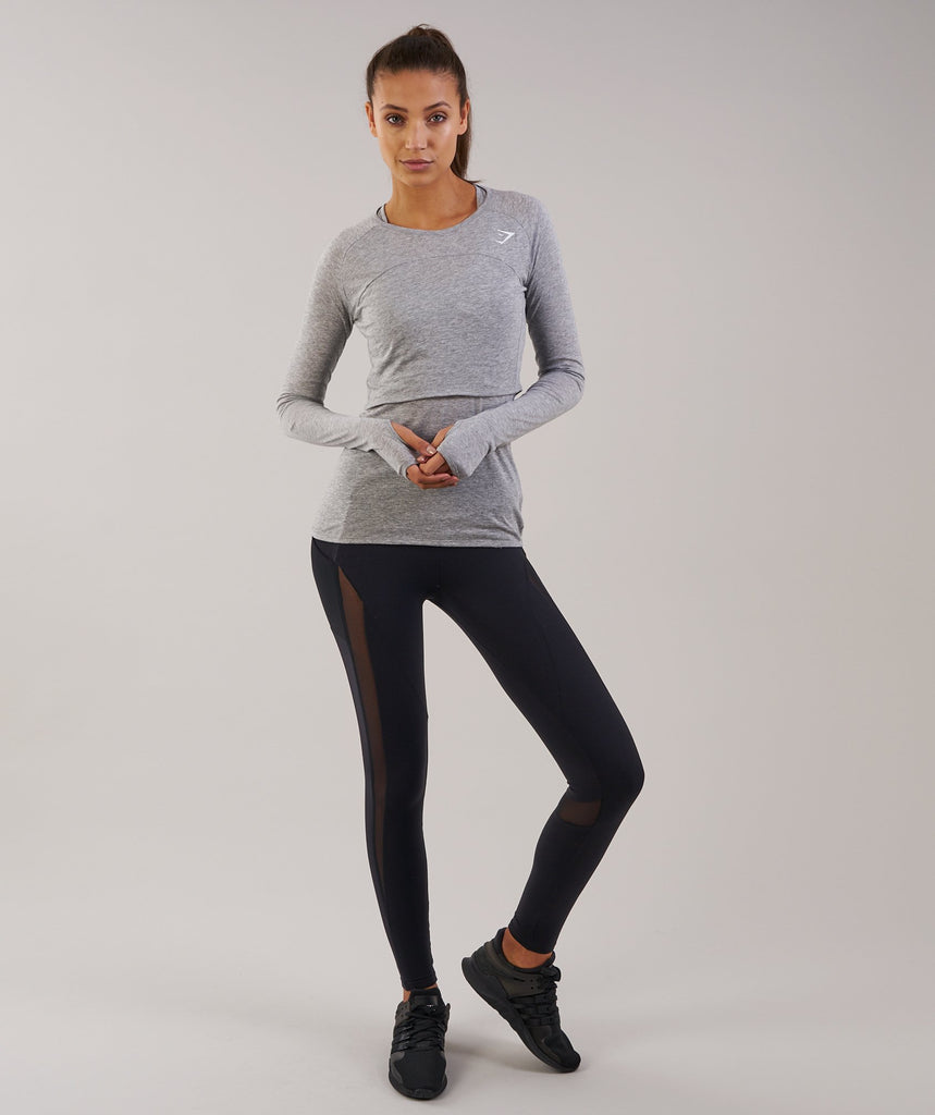 Gymshark Double Up Long Sleeve Top - Light Grey Marl 1