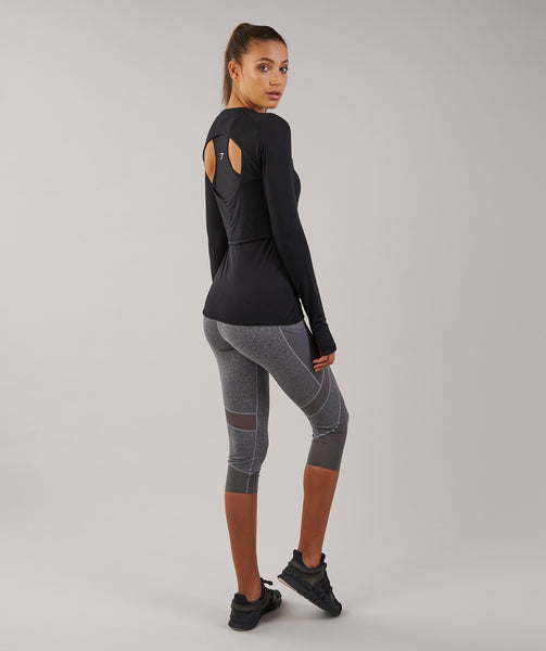 Gymshark Double Up Long Sleeve Top - Black 3