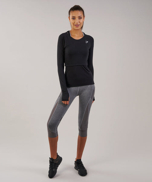 Gymshark Double Up Long Sleeve Top - Black 4