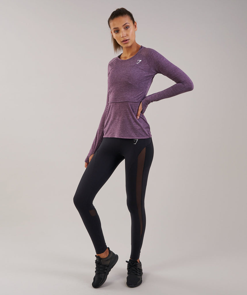 Gymshark Double Up Long Sleeve Top - Purple Wash Marl 1