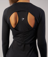 Gymshark Double Up Long Sleeve Top - Black 12