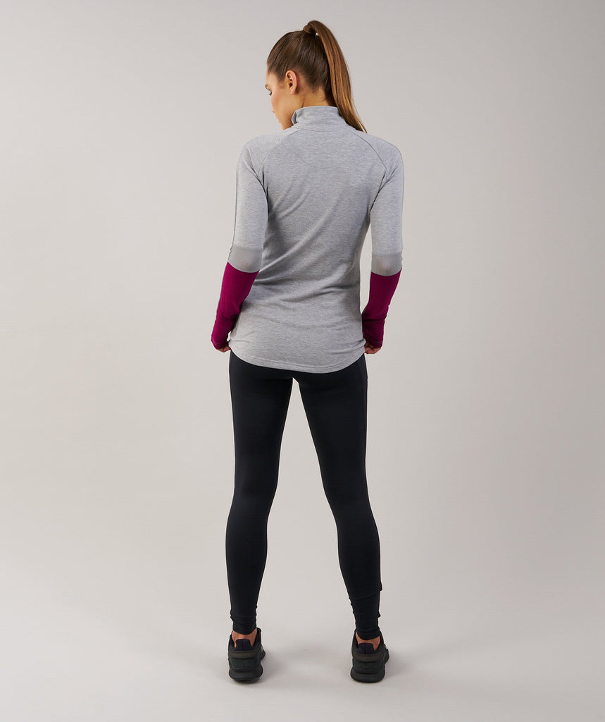 Gymshark Impulse Pullover - Light Grey Marl/Plum 2