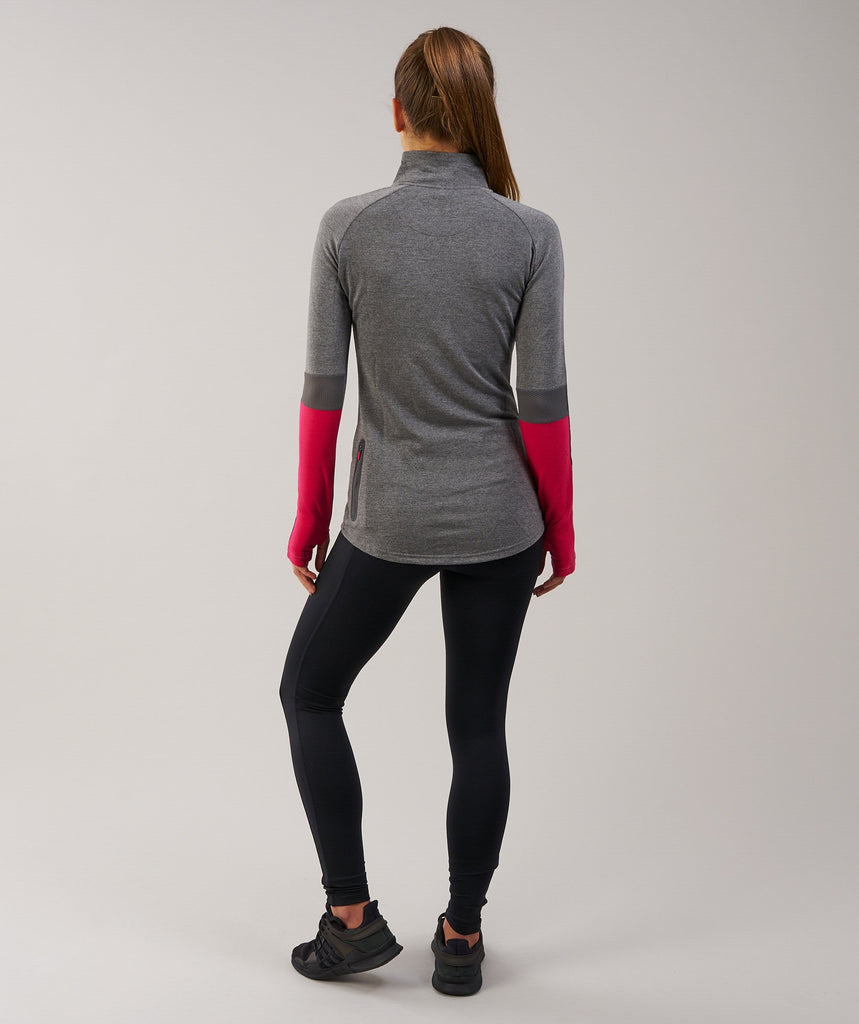 Gymshark Impulse Pullover - Charcoal Marl/Cranberry 2