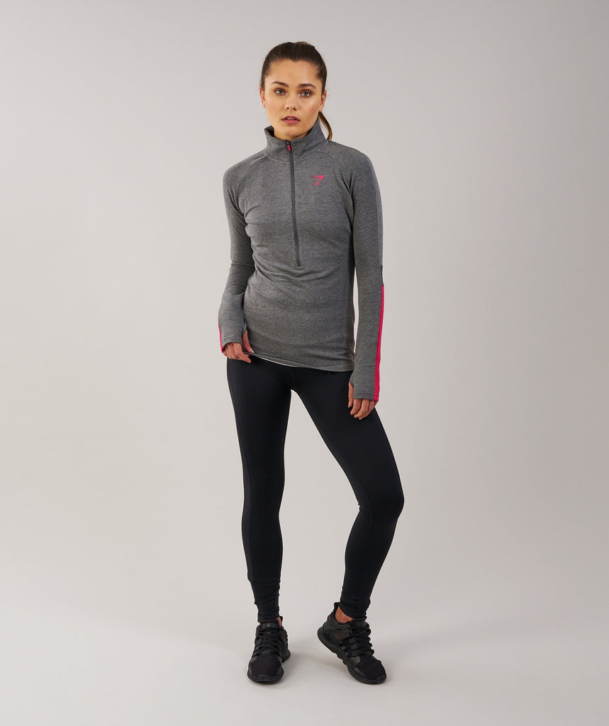 Gymshark Impulse Pullover - Charcoal Marl/Cranberry 1