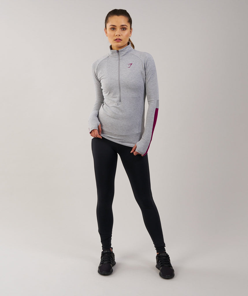 Gymshark Impulse Pullover - Light Grey Marl/Plum 1