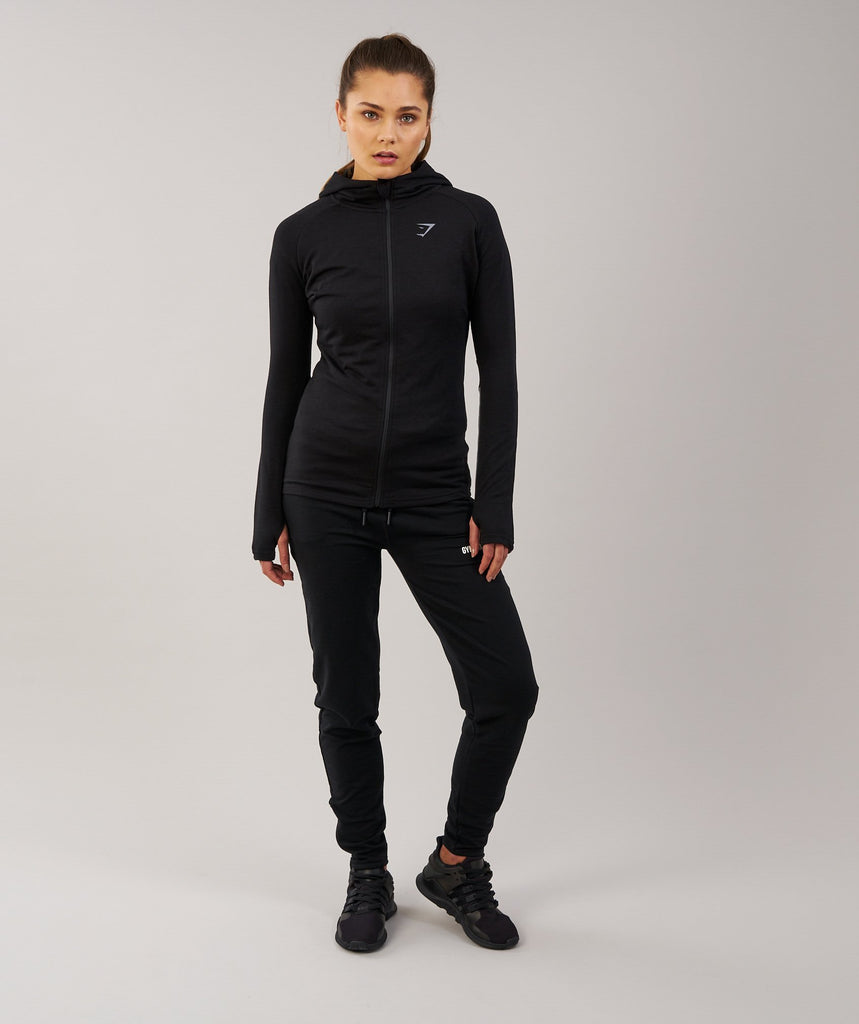 Gymshark Impulse Zip Hoodie - Black/Charcoal Marl 1