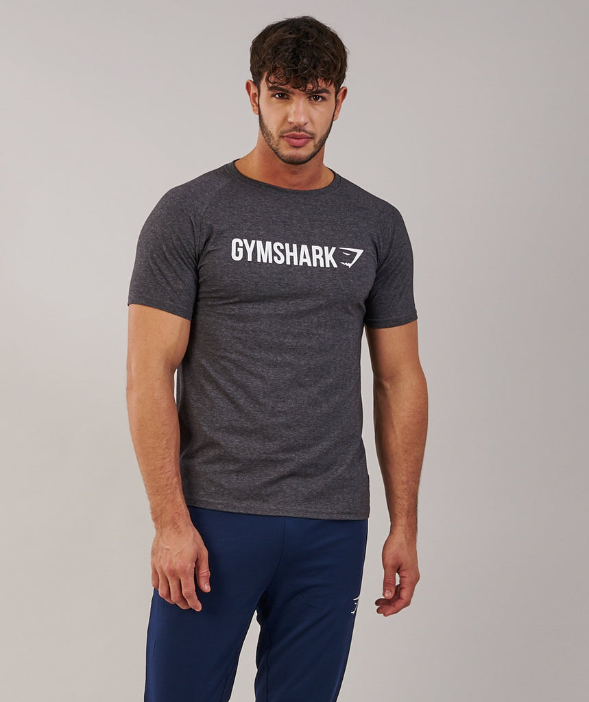 Gymshark Apollo T-Shirt - Charcoal Marl/White 5